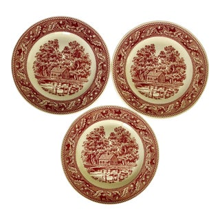 1960's Royal Ironstone Red Transfer Ware Dinner Plates S/3 For Sale