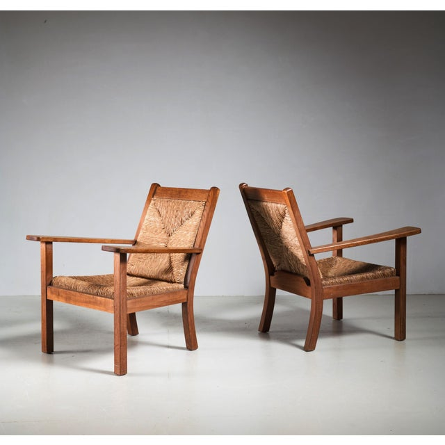 A pair of Worpsweder chairs designed by Willi Ohler in the 1920s. The execution was probably by the workshop of Erich...