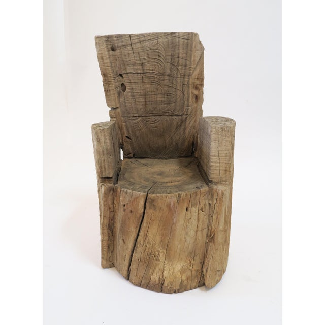 Rustic wood stump childs chair. Cut from one solid tree stump. Totally unique addition to a childs room or as a decorative...