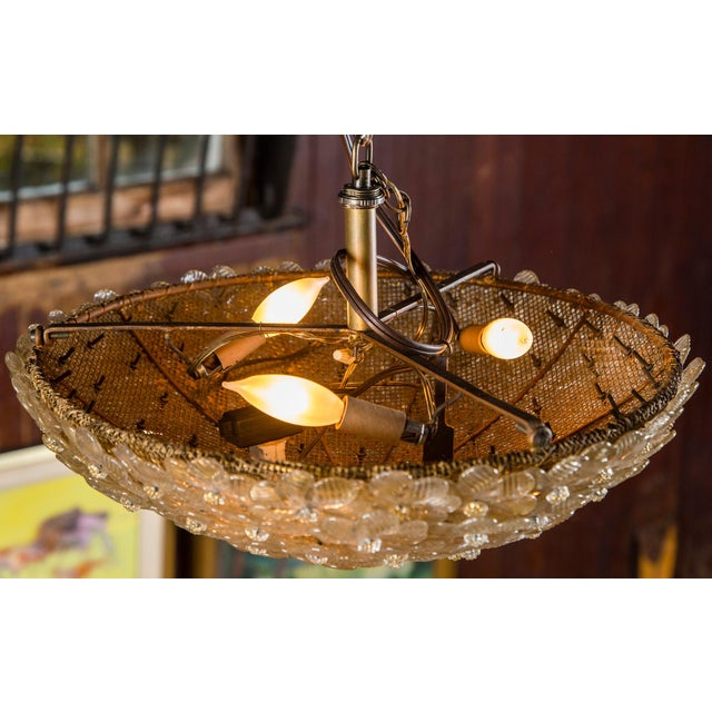 Glass Italian Barovier & Toso Murano Glass Surface Mount Ceiling Chandelier/Light For Sale - Image 7 of 11