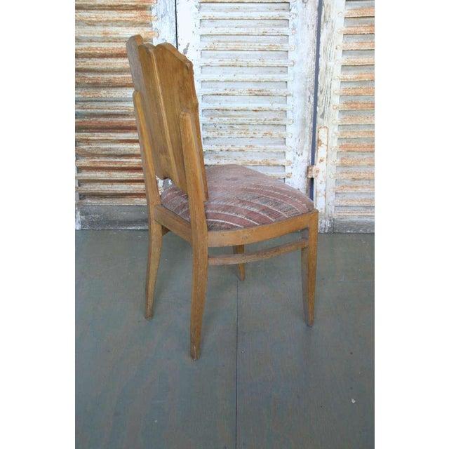 Set of Six Linen Fold Oak Side Chairs - Image 5 of 8