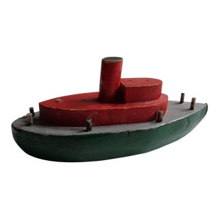1930s Vintage Handmade Wooden Ship Toy For Sale