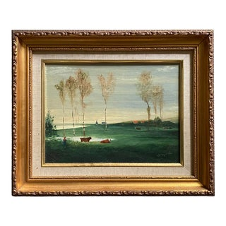 Contemporary English Pastoral Scene Oil Painting, Framed For Sale