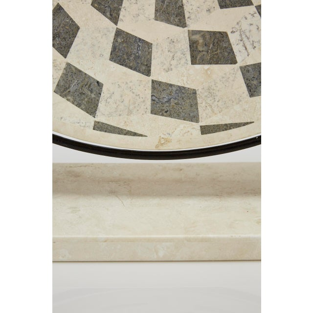 "1990s Contemporary Marquis Collection Tessellated Stone ""Illusion"" Plate on Iron Stand For Sale - Image 9 of 12"