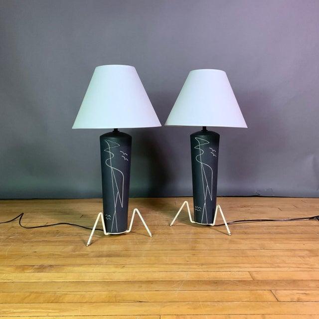 White Pair 1950s Glazed Ceramic Sgraffito Lamps For Sale - Image 8 of 10