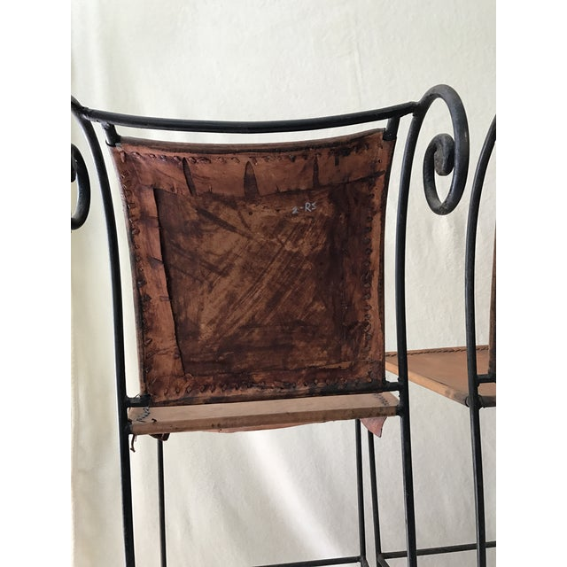 Scrolled Iron & Leather Bar Stools - Set of 3 - Image 7 of 11