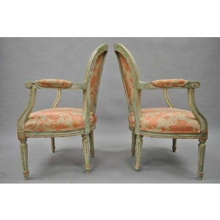 Early 20th Century French Louis XVI Cream Peach Green Distress Painted Fauteuil Arm Chairs- A Pair Preview