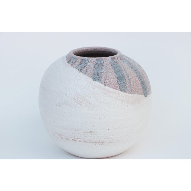 Scandinavian Style Round Pottery Vase With Stripes For Sale - Image 10 of 10