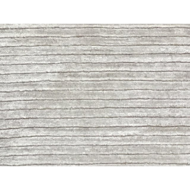 """Cotton Contemporary Tone on Tone Striped Rug White (10'x13'6"""") For Sale - Image 7 of 7"""