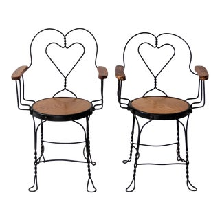Antique Ice Cream Parlor Chairs - a Pair For Sale