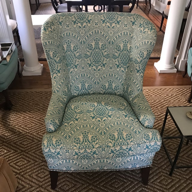2010s Modern Wingback Chair Quadrille China Seas For Sale - Image 5 of 8