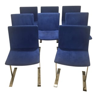 Saporiti Yves Klein Blue Ultrasuede Dining Chairs - Set of 8 For Sale