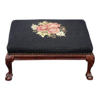 Vintage French Country Provincial Black Floral Needlepoint Footstool For Sale