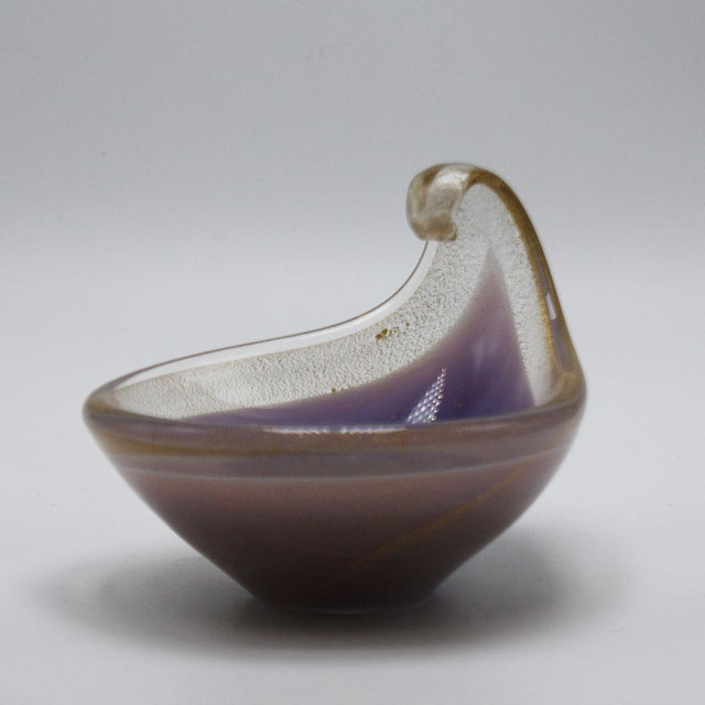 Lavender Murano glass tear drop bowl with gold flecks, c. 1970