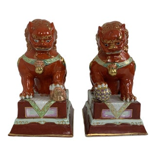 Fun Mid-20th Century Orange Foo Dogs - a Pair For Sale