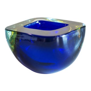 Murano Glass Sommerso Square Bowl in Blue and Yellow, 1960s For Sale