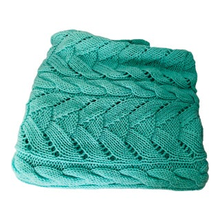 Green Knitted Handmade Bed Cover / Throw For Sale