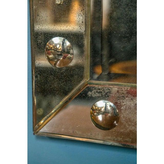 Bullseye Antiqued Framed Venetian Mirrors - Pair - Image 4 of 6