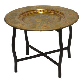 Mid-Century Brass Polychrome Tray Top Side Table For Sale
