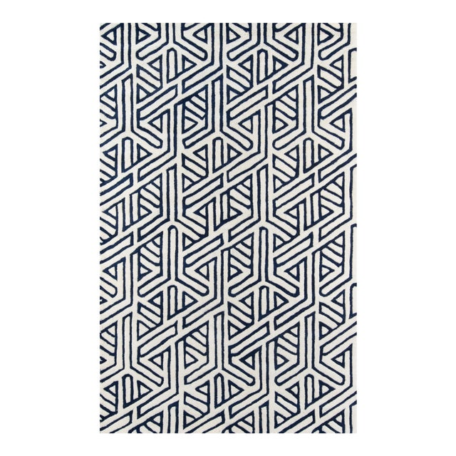 Contemporary Momeni Delhi Hand Tufted Navy Wool Area Rug - 5' X 8' For Sale
