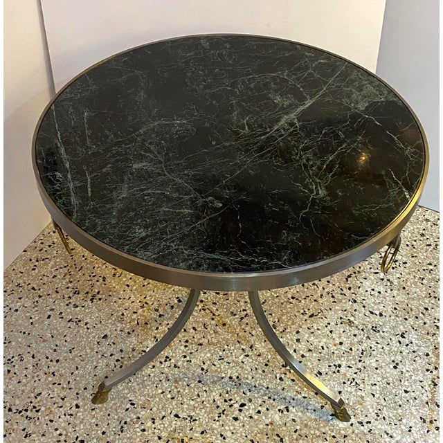 Mid-Century Maison Jansen Attributed Louis XVI Style Gueridon Side Table in Steel, Brass and Verdigreen Marble from a Palm...