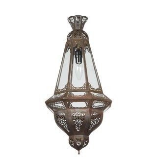 Vintage Moroccan Moorish Clear Glass Metal Pendant Light For Sale