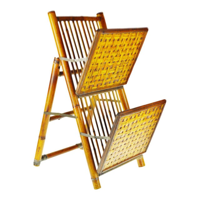 Mid Century Bamboo and Rattan Two Tier Folding Magazine Rack For Sale - Image 13 of 13