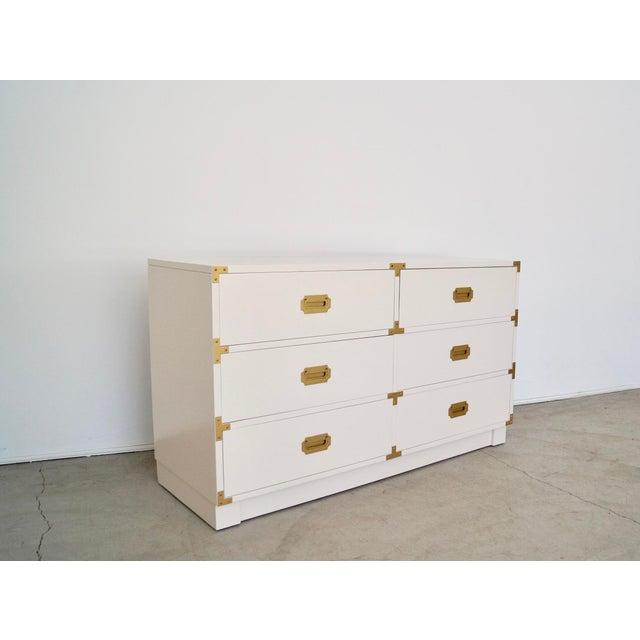 Drexel 1960's Mid-Century Hollywood Regency Campaign Dresser For Sale - Image 4 of 13