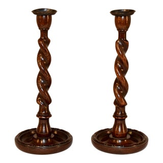 Pair of Late 19th C English Candlesticks For Sale