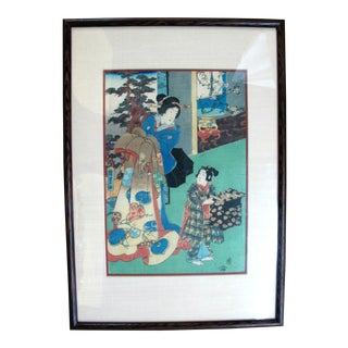 Framed Antique Kunisada II Japanese Courtesan & Helper Woodblock Print C.1858 For Sale