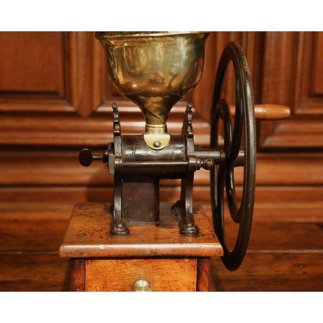 Large 19th Century French Walnut Iron and Brass Coffee Grinder For Sale - Image 4 of 11