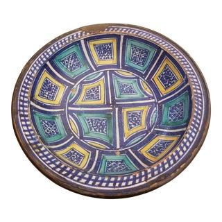 Antique Moraccan Ceramic Bowl For Sale