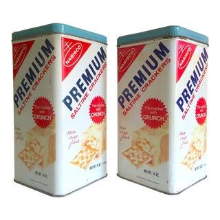 "Vintage 1969 Mid Century Nabisco "" Premium Saltine Crackers "" Metal Storage Can Tins - a Pair For Sale"