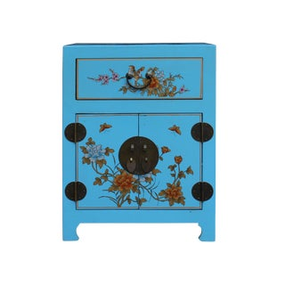 Chinese Aqua Blue Graphic Vinyl Moon Face End Table Nightstand For Sale