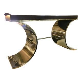 Art Deco Style Jet Set Gold Console Table For Sale