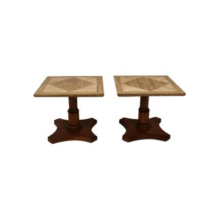 Pair Baker Furniture Marble Walnut Side Tables For Sale