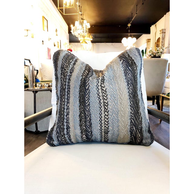 Custom Robert Allen Zig Zag Pillows This fabric features a beautiful, embroidered stripe, made by zig zagging the...