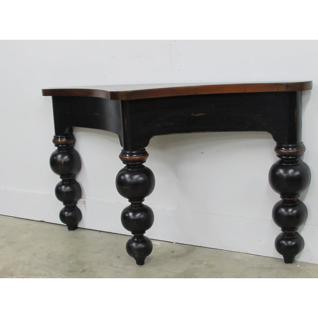 Black French Country Console Table in Ebony and Fruit-Wood For Sale - Image 8 of 9