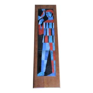 Mid-Century Modern Tile Wall Art -Man With Bird