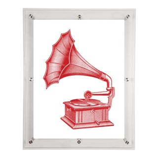 Mitchell Black Home Acrylic Framed Red Phonograph Print For Sale