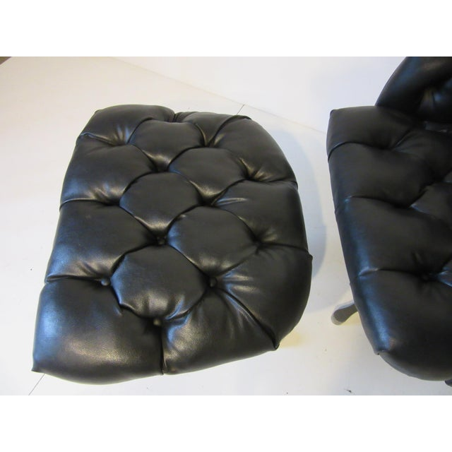 Aluminum Tufted Swiveling Lounge Chair and Ottoman For Sale - Image 7 of 10
