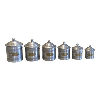 Antique French Pantry Canisters - Set of 6