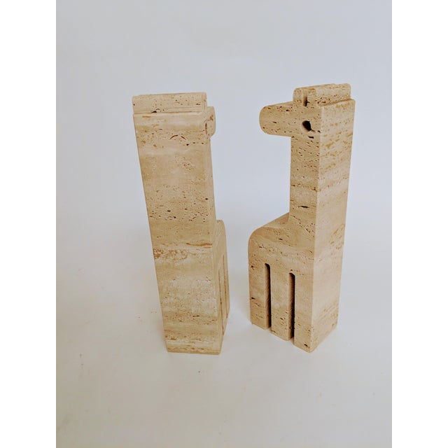 Fratelli Mannelli Travertine Giraffe Bookends - A Pair - Image 3 of 7