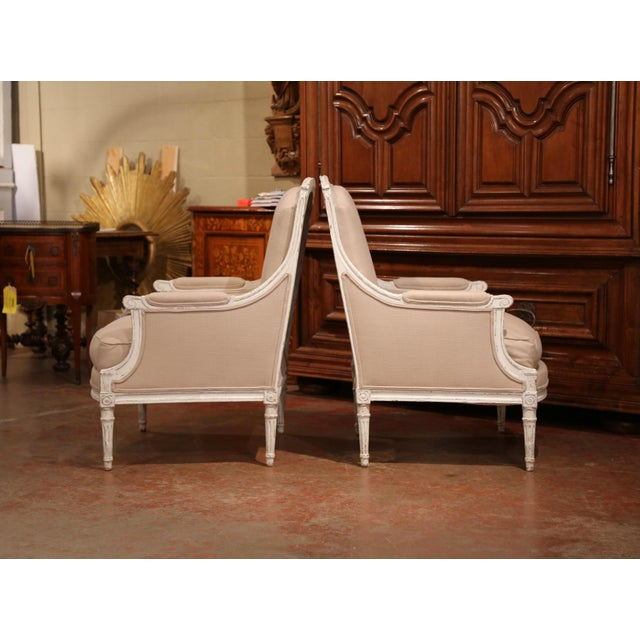 Beech 19th Century French Louis XVI Carved Painted Armchairs With Beige Fabric - a Pair For Sale - Image 7 of 9