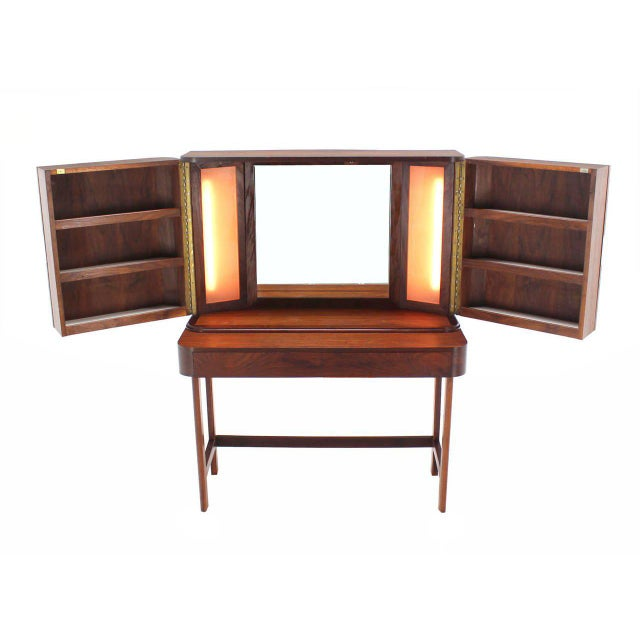 Rosewood Art Deco Open Up Vanity with Light and Matching bench For Sale - Image 4 of 10