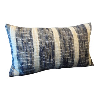 Vintage Indian Woven Blue and White Stripes Petite Lumbar Decorative Pillow For Sale
