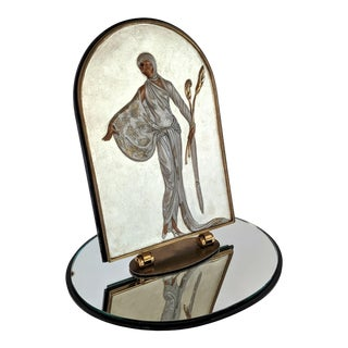 1980s Lily Erte Bronze Table Mirror Art Deco Double-Sided With Mirrored Base, Signed For Sale