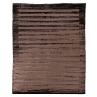 Yunta Hand loom Viscose Chocolate Rug - 12'x15' For Sale
