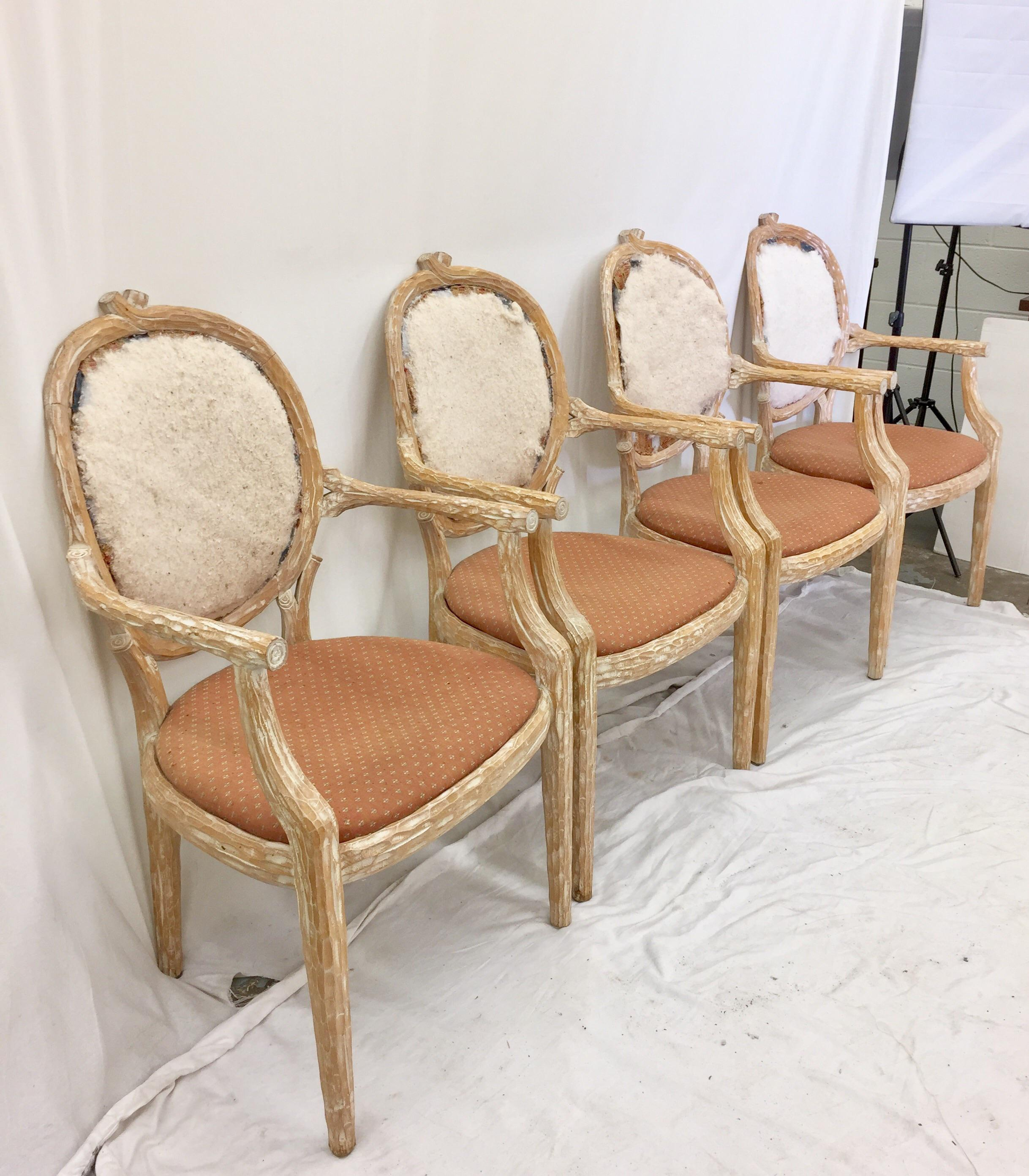 Stunning Set Of 4 White Washed Wooden Twig U0026 Branch Framed Louis XVI Shaped  Arm Chairs