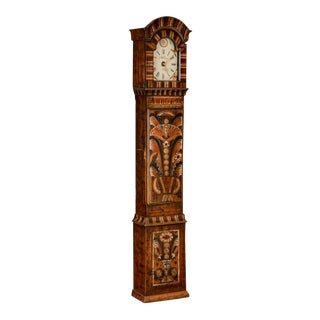Antique Swedish Allmoge Painted Grandfather Clock For Sale